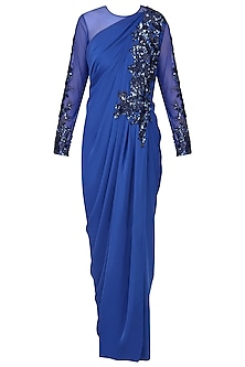 Royal Blue Embroidered Full Sleeves Drape Gown by Neeta Lulla