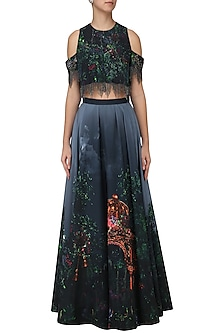 Navy Blue Digital Printed Lehenga and Tierred Fringes Crop Top by Neeta Lulla
