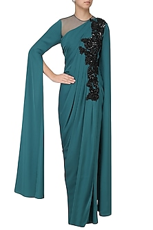 Blue Cutdana Work Cape Sleeves Drape Gown by Neeta Lulla