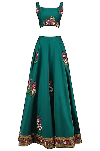 Teal Cross Stitch Floral Embroidered Lehenga Set by Neeta Lulla