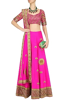 Pink and Gold Embroidered Motifs Lehenga Set by Neeta Lulla