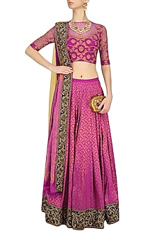 Orchid Color Kanjivaram Lehenga Skirt with Blue Blouse by Neeta Lulla