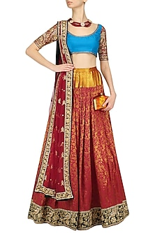 Red Kanjivaram Lehenga Skirt and Blouse Set by Neeta Lulla
