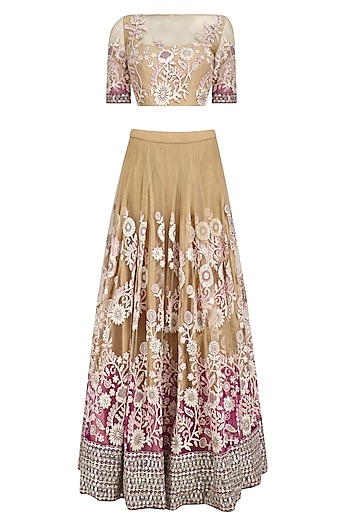 Beige and Pink Shaded Floral Embroidered Lehenga Set by Neeta Lulla