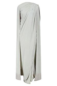 Grey Drape Saree and Cape Sleeves Blouse Set by Neeta Lulla
