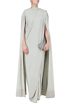Grey Drape Saree and Cape Sleeves Blouse Set by Neeta Lulla