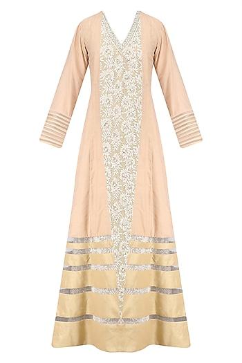 Beige Floral Thread Work Anarkali Kurta and Jacket Set by Neeta Lulla