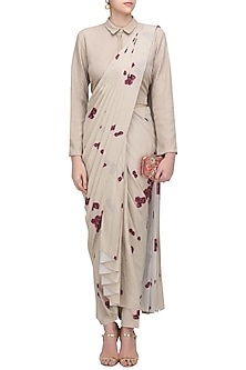 Beige Gold and Red Roses Print Anarkali Gown by Neeta Lulla