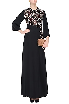 Black Floral Embroidered Tunic and Pants Set by Neeta Lulla