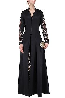 Black Floral Embroidered Jacket Style Kurta and Pants Set by Neeta Lulla