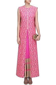 Hot Pink Kalidaar Kurta and Floral Work Cape Jacket Set by Neeta Lulla