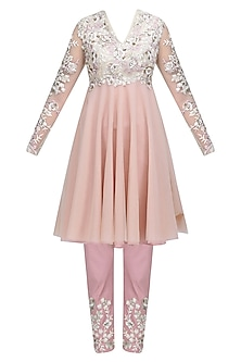 Pink and Ivory Floral Thread Embroidered Short Anarkali and Pants Set by Neeta Lulla