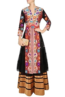 Black Floral Pathani Work Jacket Style Kurta and Lehenga Skirt Set by Neeta Lulla