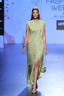 Olive Green Chandelier Lace Panel Drape Saree and Blouse Set by Neeta Lulla