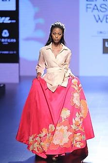 Pink Mesh and Crochet Lace Lehenga and Grid Jacket Set by Neeta Lulla