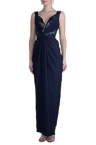 Midnight Blue Embroidered Pleated Gown by Neeta Lulla