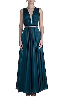 Teal Gown With Embroidered Belt by Neeta Lulla