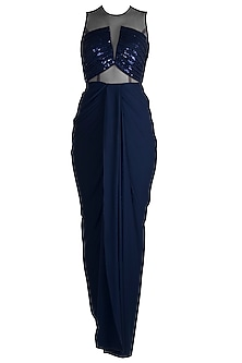 Midnight Blue Sequins Embroidered Gown by Neeta Lulla