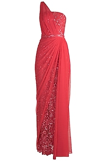 Red One Shoulder Lace Gown by Neeta Lulla