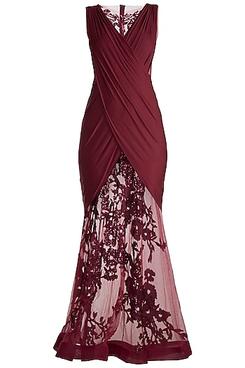 Maroon Embroidered Sheer Gown by Neeta Lulla