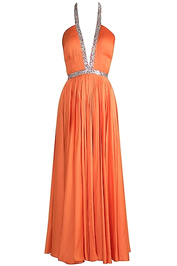 Orange Embroidered Halter Neck gown by Neeta Lulla