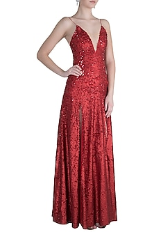 Red Strappy Sequins Gown by Neeta Lulla