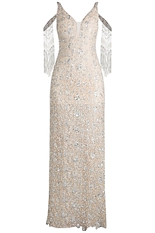 Cream Embroidered Cold Shoulder Tassel Gown by Neeta Lulla