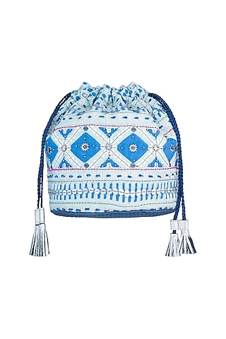 Mint Blue Handblock Printed & Embroidered Geometric Drawstring Bag by Neonia