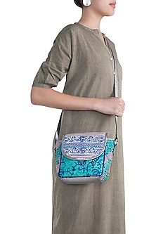 Green Handblock Printed Embroidered Sequins Bag by Neonia