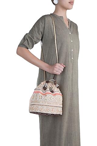 Peach Handblock Printed & Embroidered Geometric Drawstring Bag by Neonia