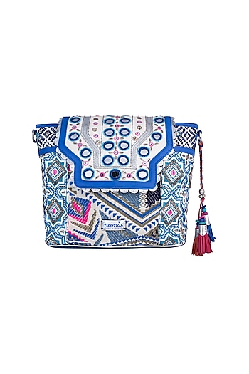 White & Blue Handblock Printed Embroidered Crossbody Tote Bag by Neonia