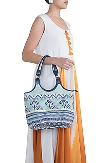 Mint Blue Handblock Printed & Embroidered Hobo Bag by Neonia