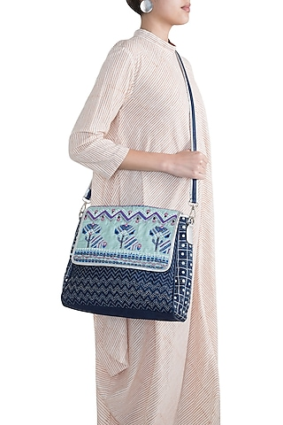 Navy Blue Handblock Printed Embroidered Briefcase Bag by Neonia