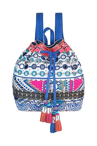 Blue & White Handblock Printed Embroidered Drawstring Backpack by Neonia