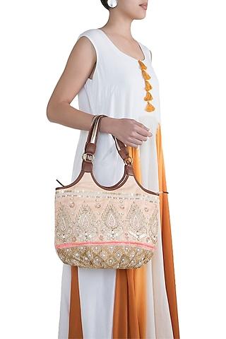 Peach Handblock Printed & Embroidered Hobo Bag by Neonia
