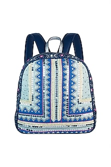 Mint Blue Handblock Printed & Embroidered Backpack by Neonia