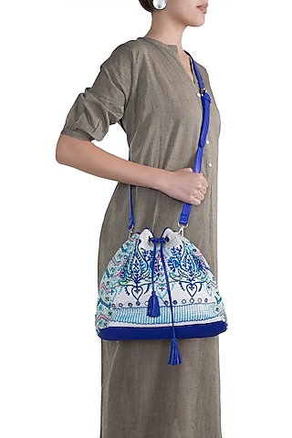 Blue & White Handblock Printed Embroidered Geometric Drawstring Backpack by Neonia