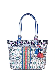White & Blue Handblock Printed Embroidered Tote Bag by Neonia