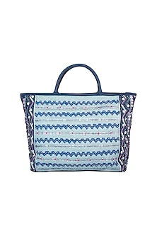 Mint Blue Handblock Printed & Embroidered Small Tote Bag by Neonia
