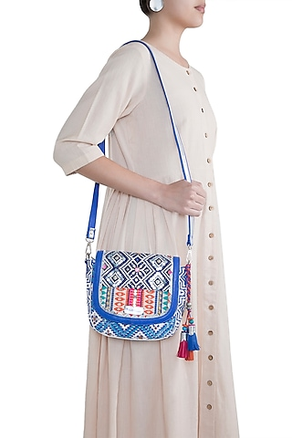 White & Blue Handblock Printed Embroidered Crossbody Sling Bag by Neonia