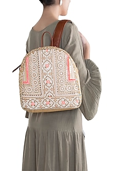 Peach Handblock Printed & Embroidered Backpack by Neonia