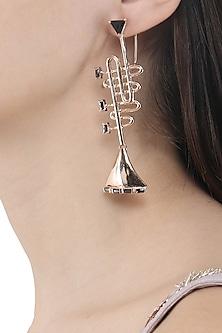 Rose Gold Finish Trumpet Motif Earrings by Nepra By Neha Goel