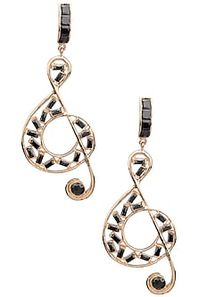 Rose Gold Finish Music Note Motif Earrings by Nepra By Neha Goel
