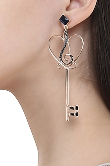 Rose Gold Finish Key and Musical Note Motif Earrings by Nepra By Neha Goel