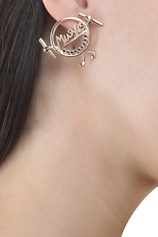 Rose Gold Finish Round Earrings by Nepra By Neha Goel