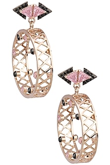 Rose Gold Finish Baby Pink Zircons Earrings by Nepra By Neha Goel