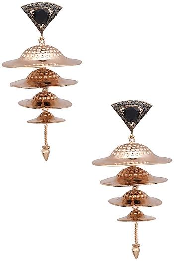 Rose Gold Finish Cymbal Motif Earrings by Nepra By Neha Goel