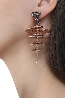 Rose Gold Finish Cymbal Motif Earrings by Nepra By Neha Goel