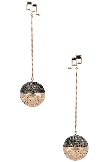 Rose Gold Finish Disco Ball and Music Note Motif Earrings by Nepra By Neha Goel