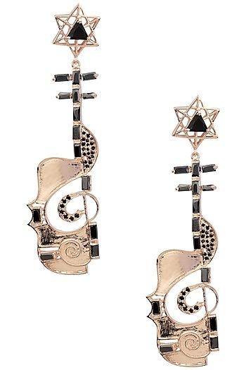 Rose Gold Finish Guitar Motif Dangler Earrings by Nepra By Neha Goel